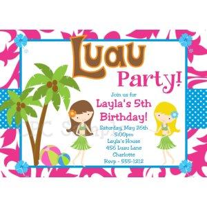 Grande 9 Year Birthday Party Invitation Wording Ideas Luau