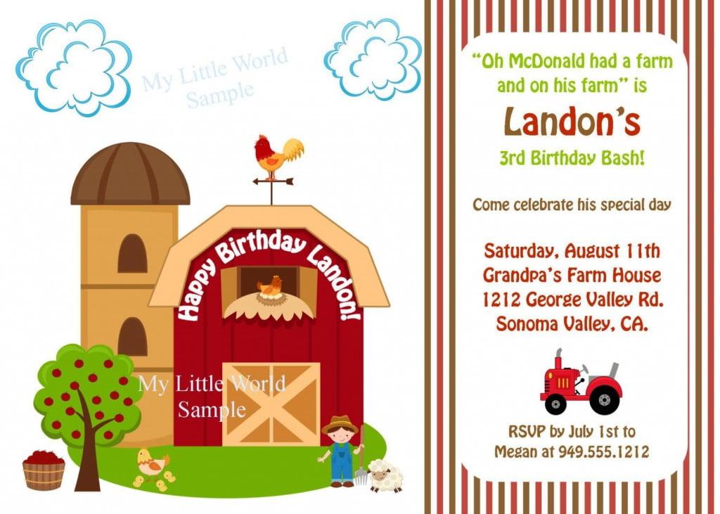 farm birthday invitations ideas free