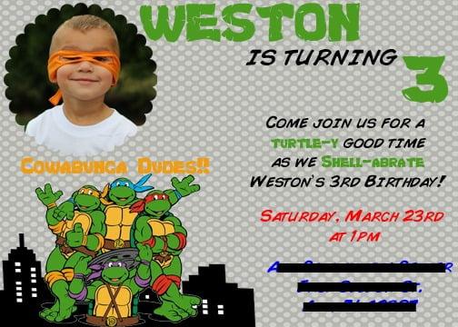 ninja turtle birthday invitations