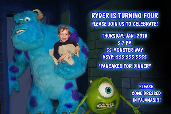 monsters inc birthday invitations