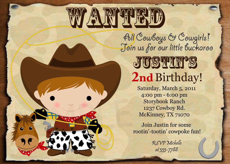 cowboy birthday invitation ideas free