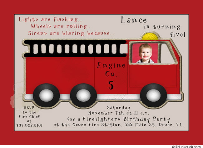 fire truck birthday invitations free