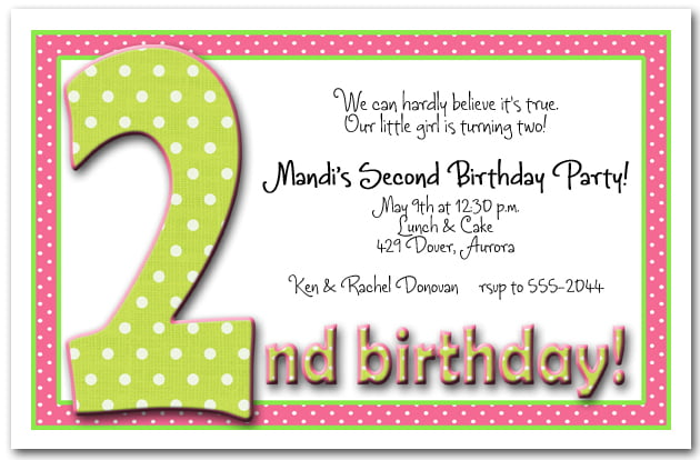 2nd birthday invitation wording free