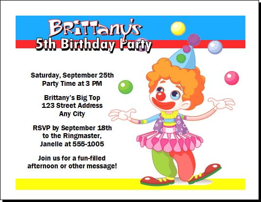 Carnival Themed Invitations Templates Download Image Clown Birthday