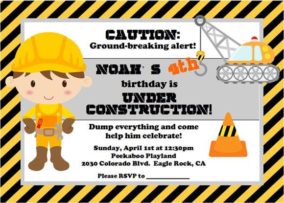 construction birthday party invitations