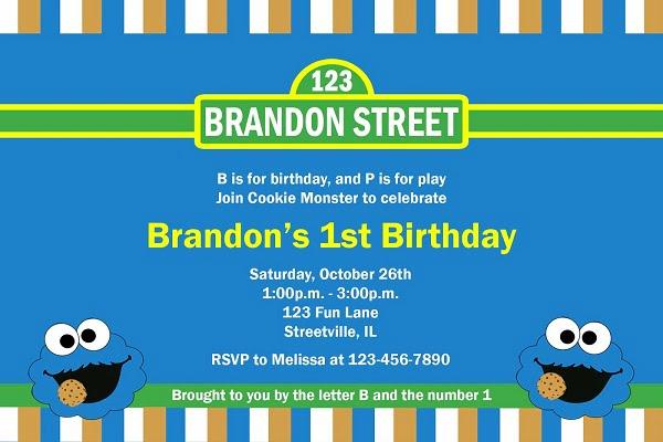 Cookie Monster Birthday Invitations Ideas Bagvania
