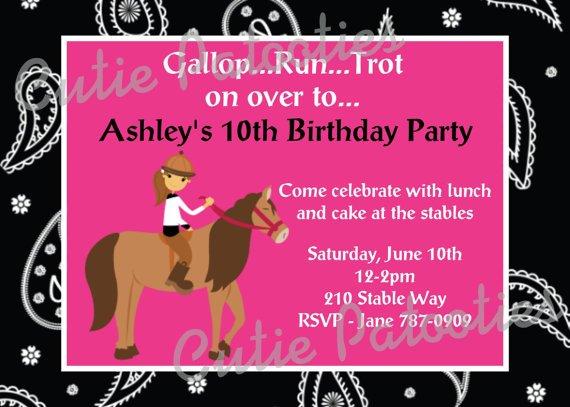 horse birthday invitations free