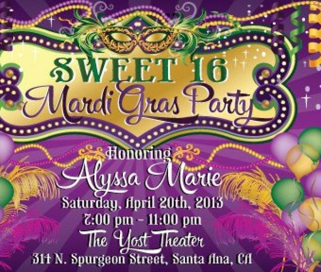 Vip Mardi Gras Birthday Invitations