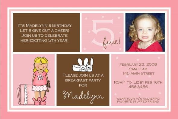 5th birthday invitation wording ideas