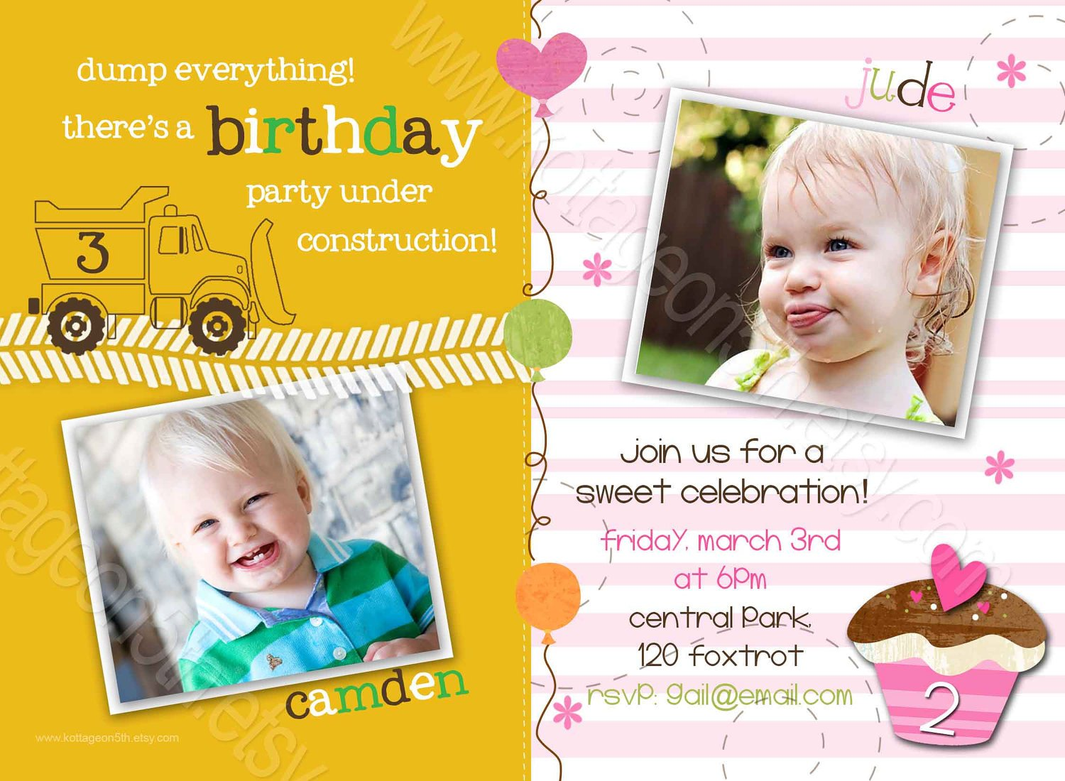 joint birthday party invitations free