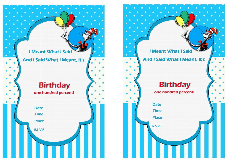 Free Printable Dr Seuss First Birthday Invitations