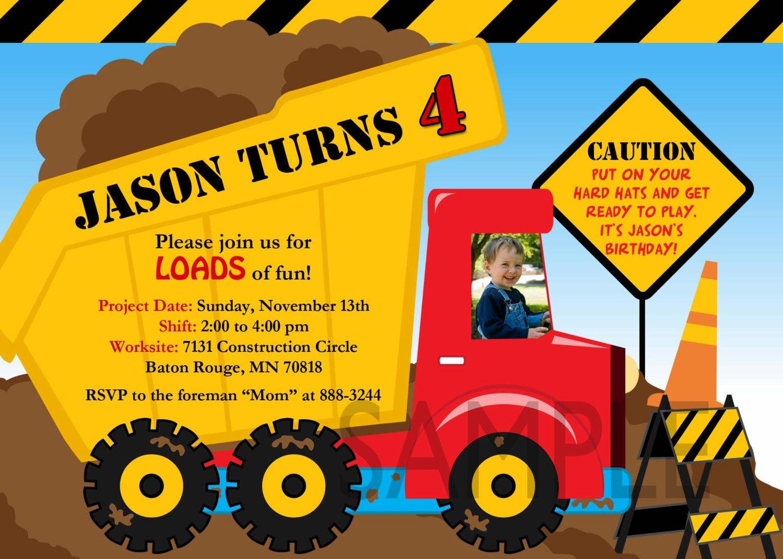 truck birthday invitations free