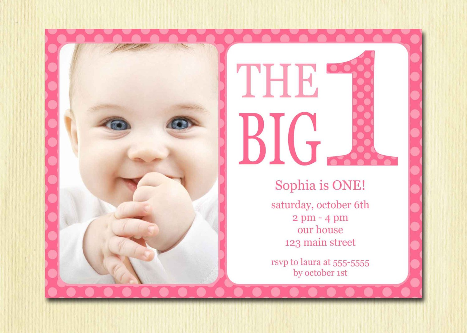 Pinky Baby First Birthday Invitations Free Printable