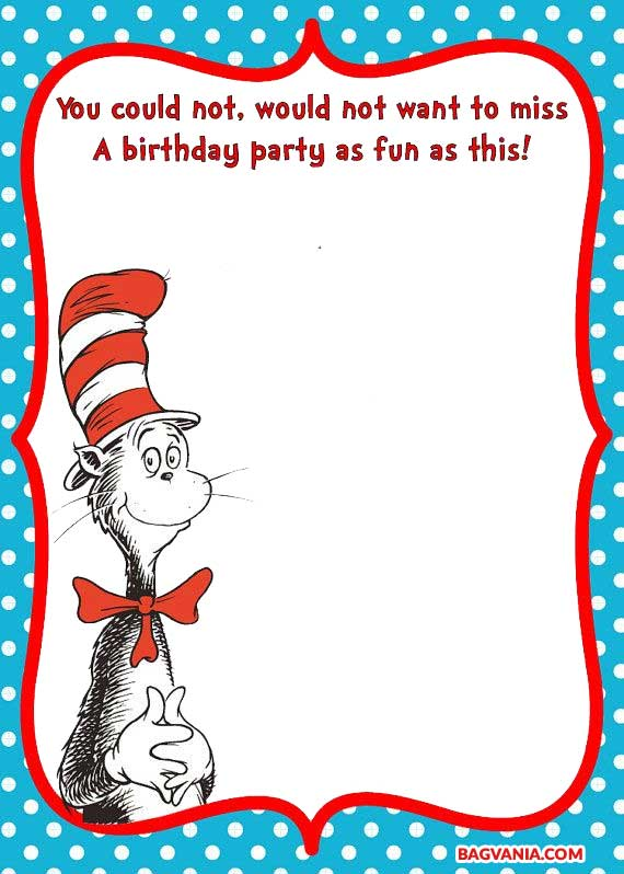 Free Printable Dr Seuss Cat In The Hat Invitation Template Free Printable Birthday Invitation Templates Bagvania