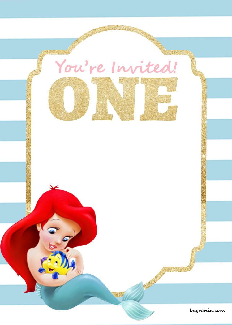 Free Printable Birthday Invitations Ariel Mermaid Free Printable Birthday Invitation Templates Bagvania