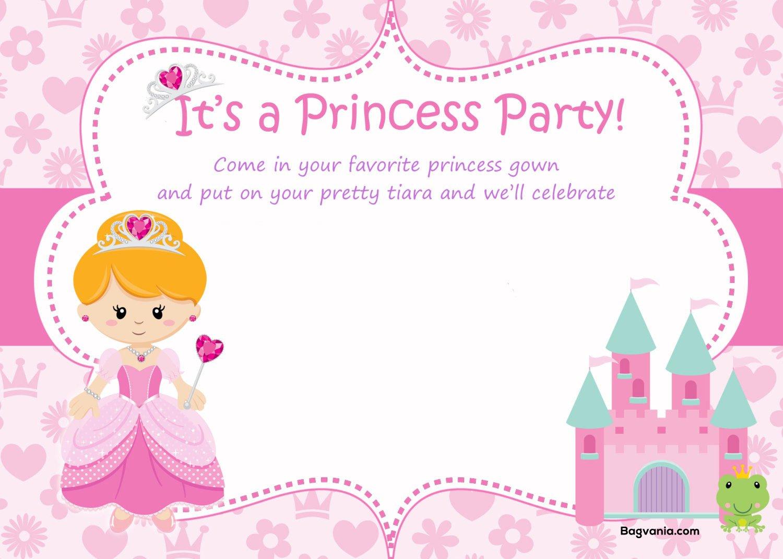 Free Princess Birthday Invitations Free Printable Birthday Invitation Templates Bagvania