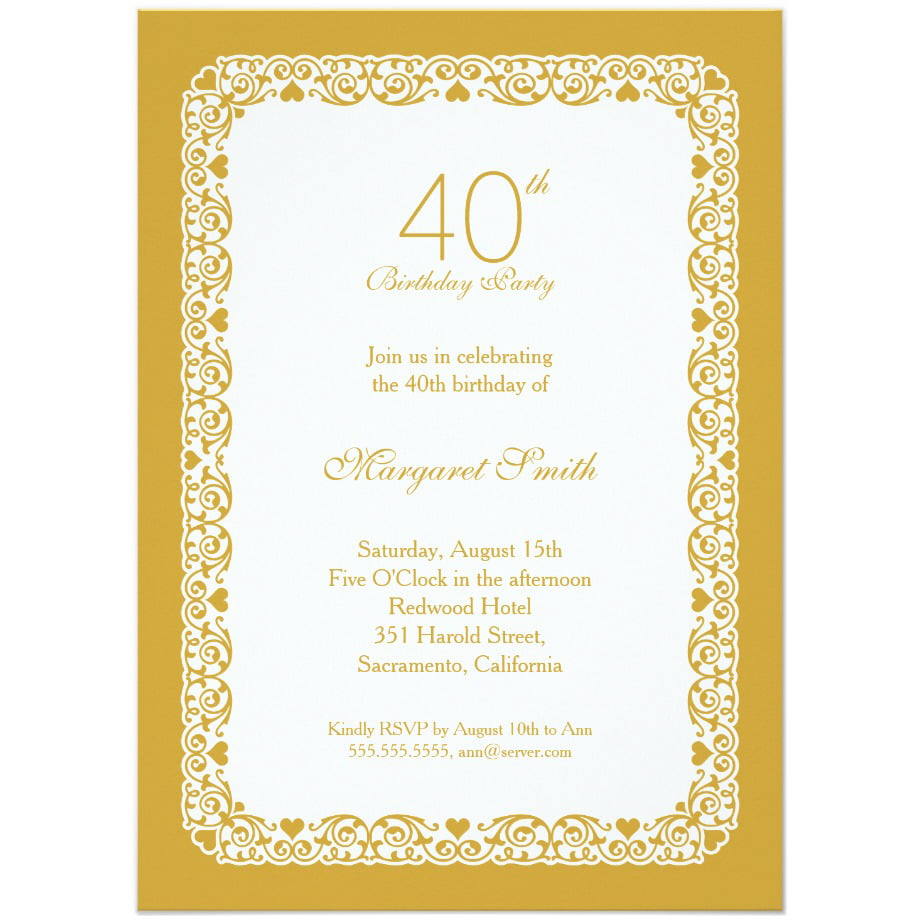 40th birthday party invitations wording