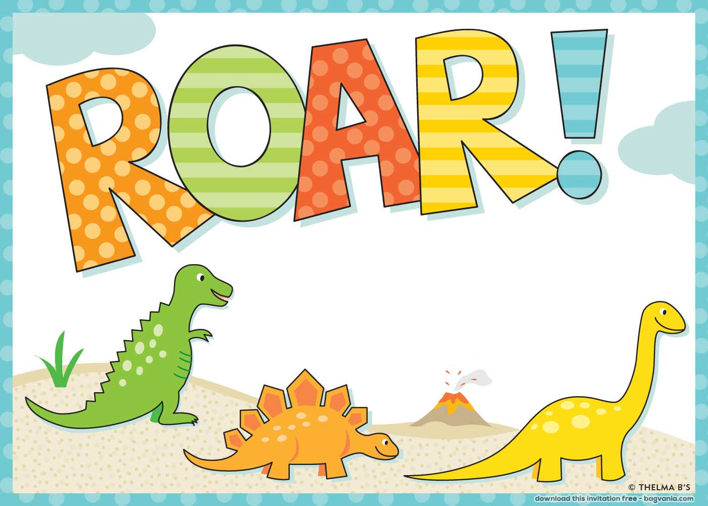 Free Dinosaur Birthday Invitations Bagvania Free
