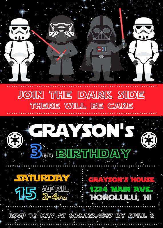 Greeting Cards Invitations Star Wars Birthday Party Invitations Personalised Greeting Cards Party Supply