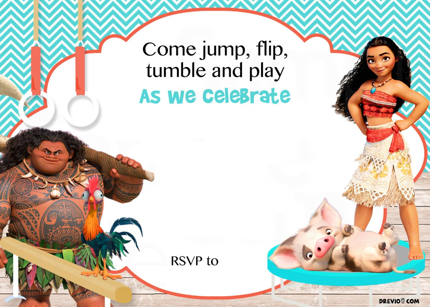 free download for baby moana invitation