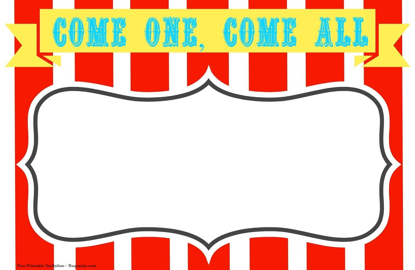 Free Printable Circus Birthday Invitations Template Free Printable Birthday Invitation Templates Bagvania