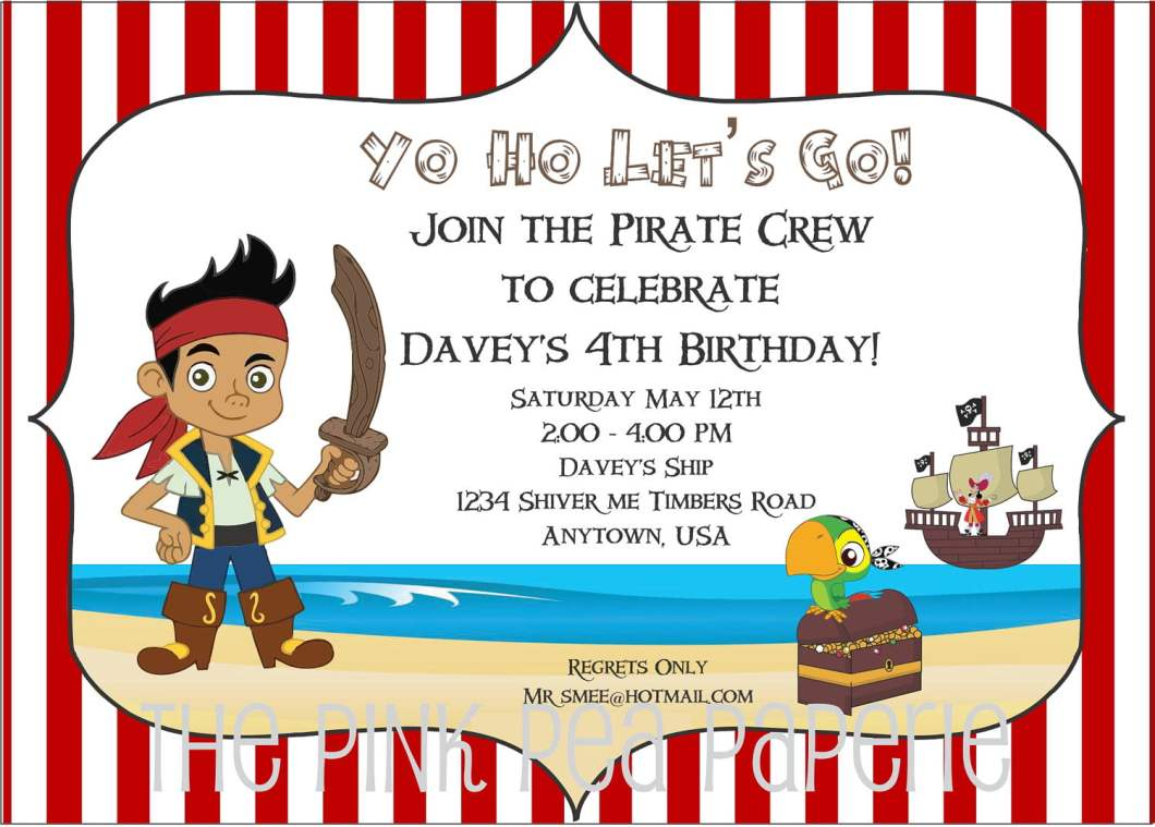 Free Online Pirate Birthday Invitations | Rezzasite.co