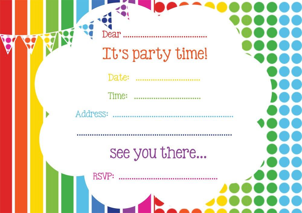 Free Rainbow Birthday Invitations Bagvania