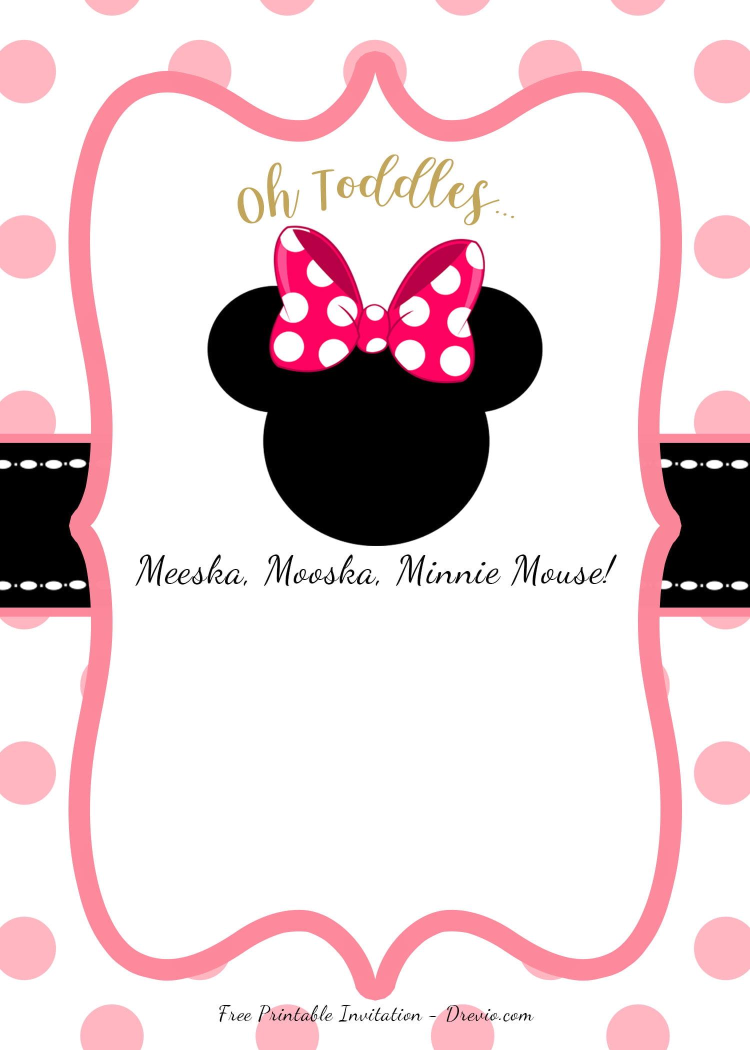 minnie mouse head invitation templates