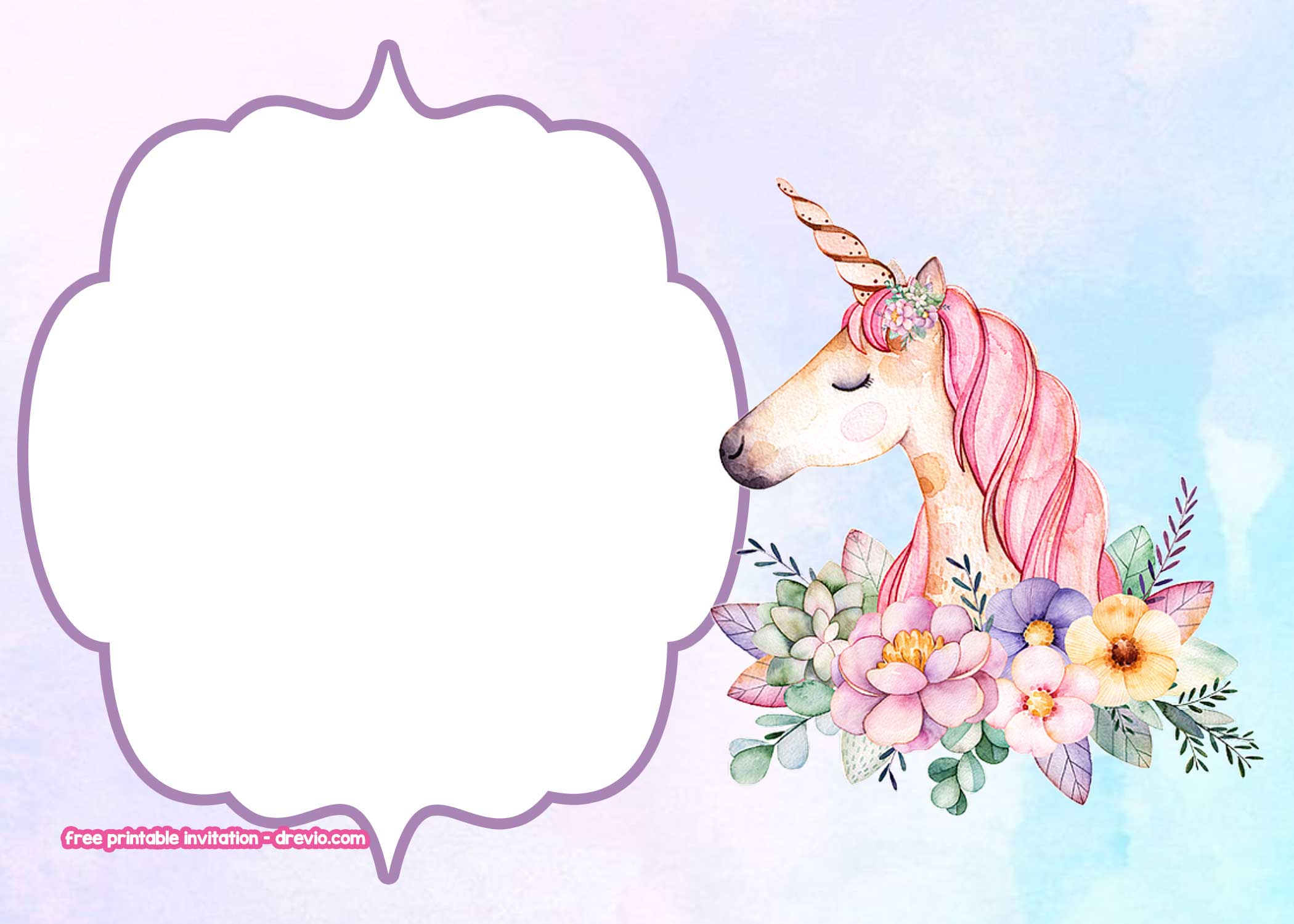 free unicorn birthday invitation