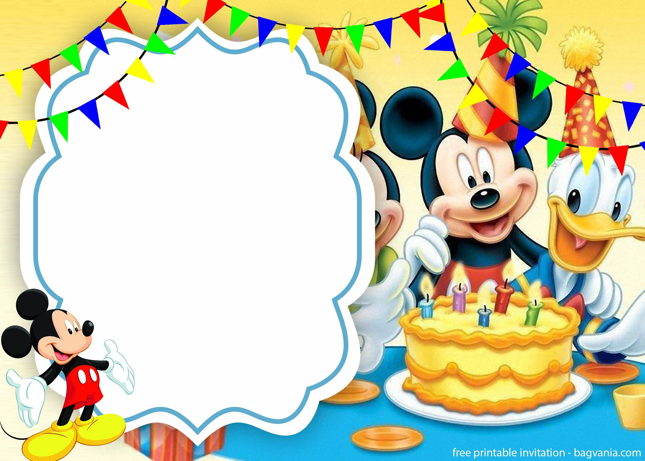 free cute mickey mouse cake invitation