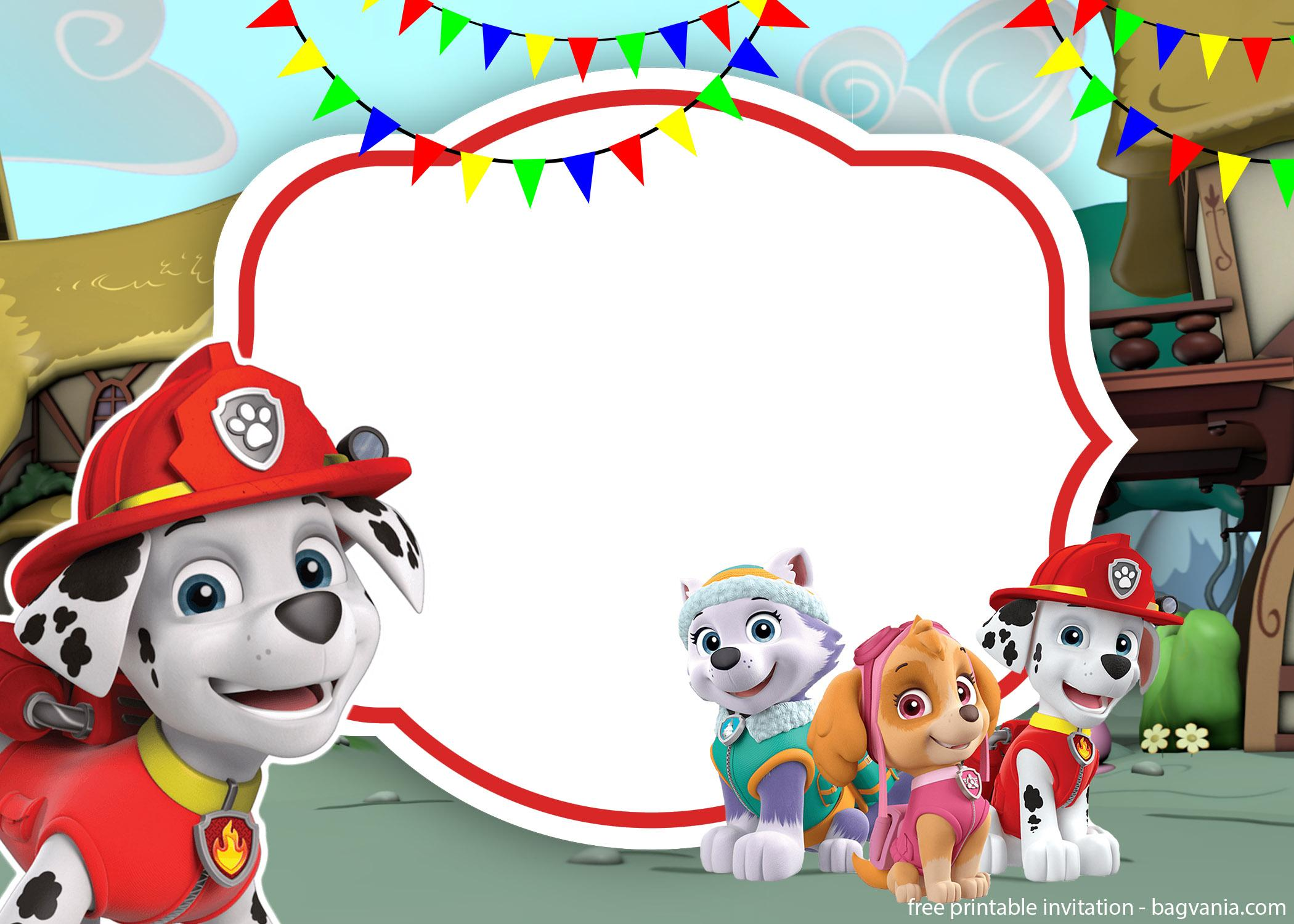 Free Printable All Characters Paw Patrol Invitation Template