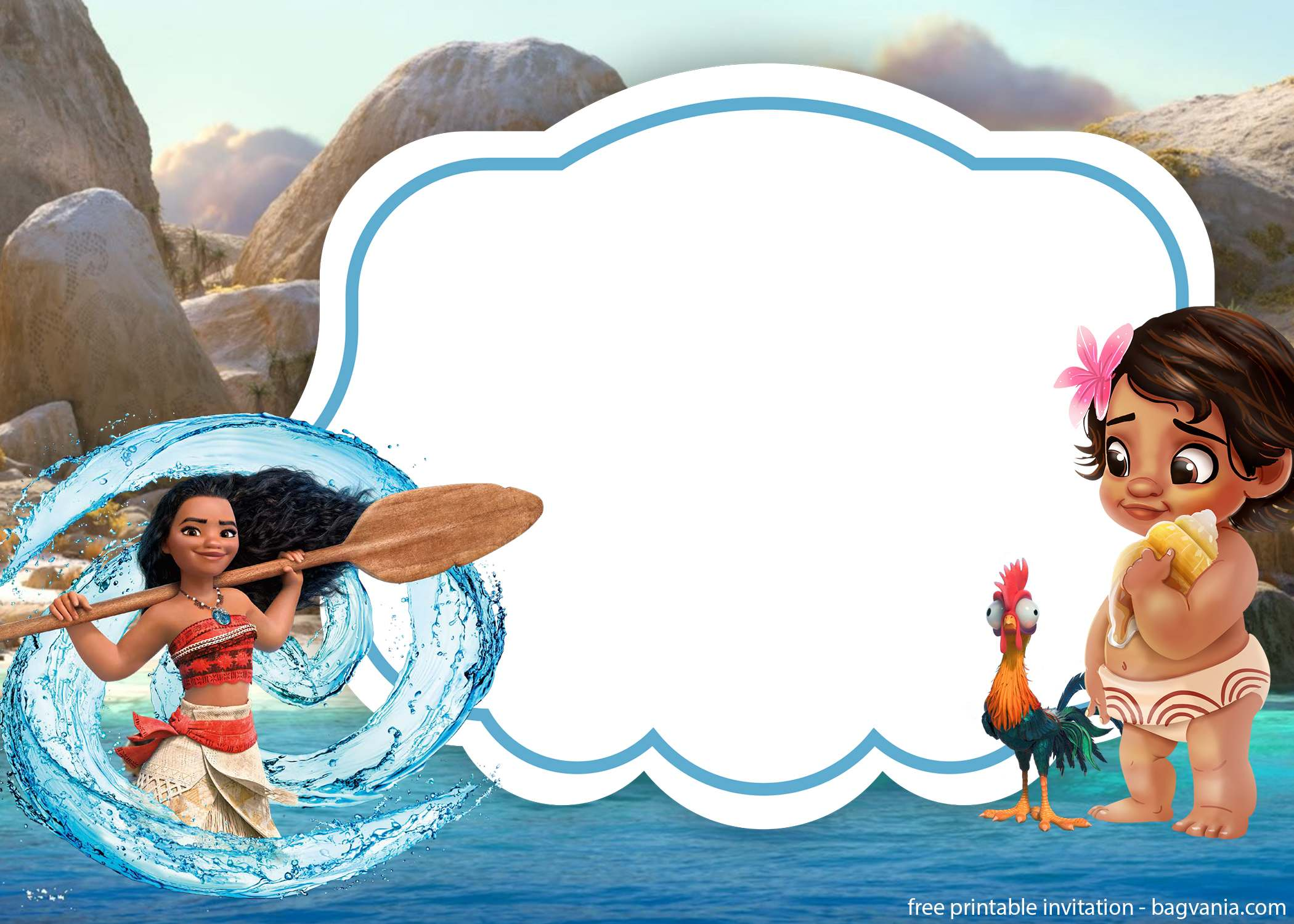 free baby moana invitation template