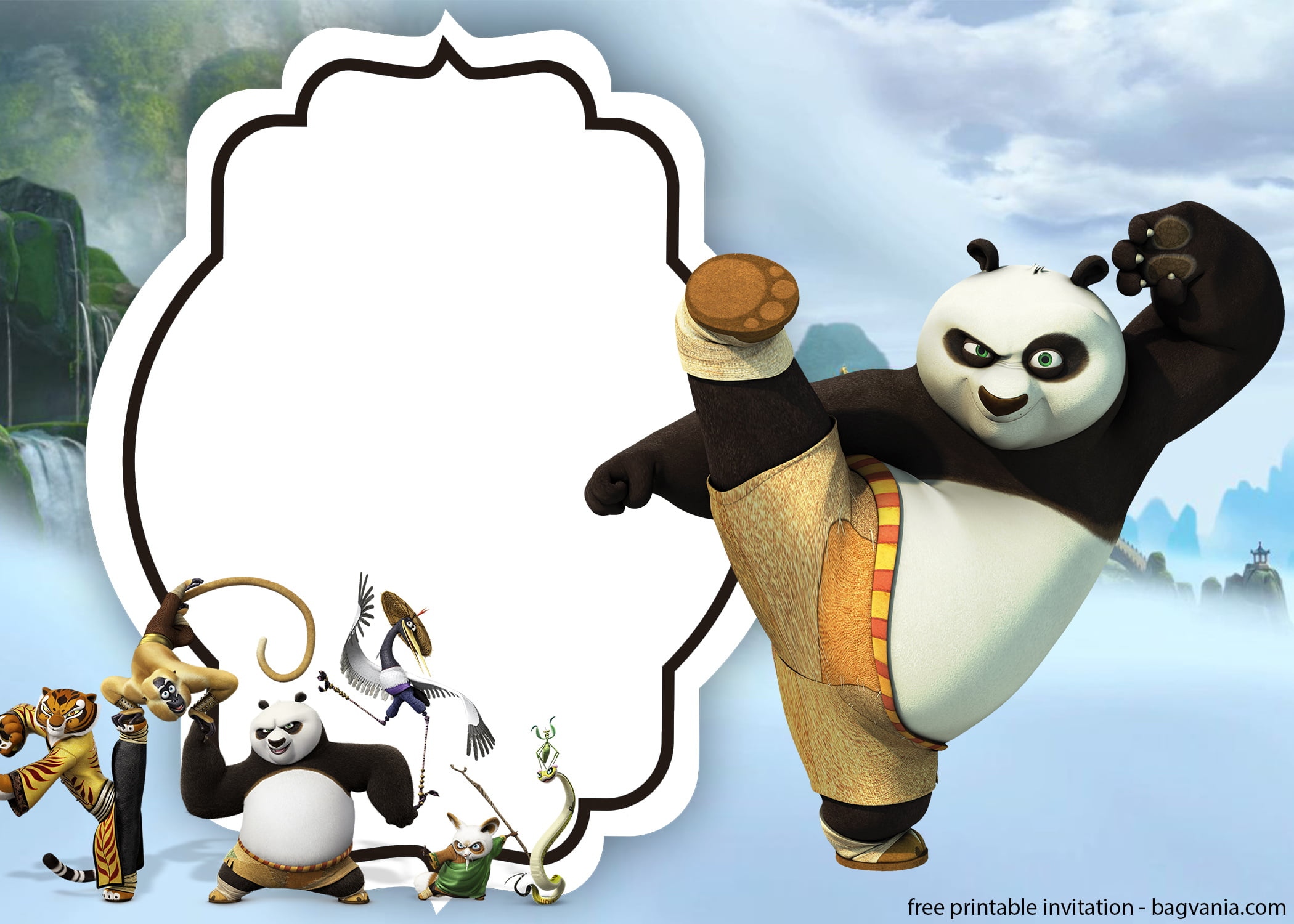 free kungfu panda invitations templates