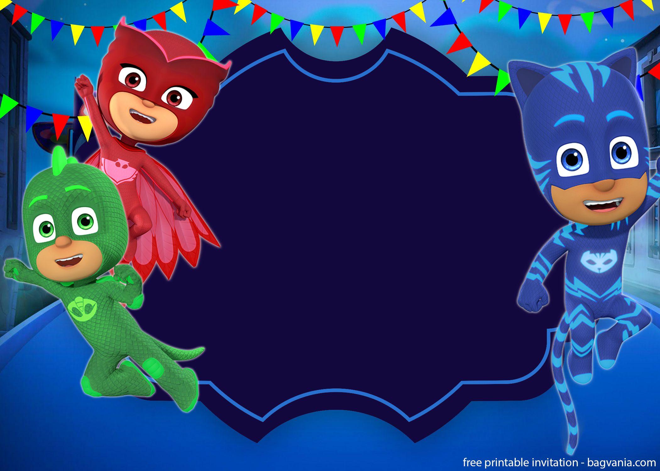 Free Printable Pj Masks Invitation Template Free Printable Birthday Invitation Templates Bagvania