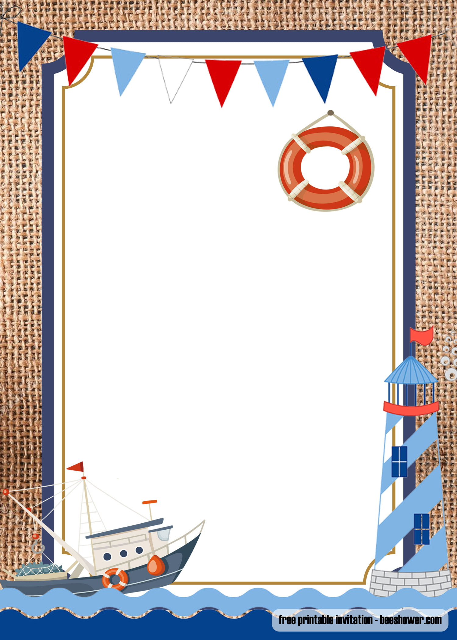 Free Nautical Theme Baby Shower Invitations Templates Free Printable Birthday Invitation