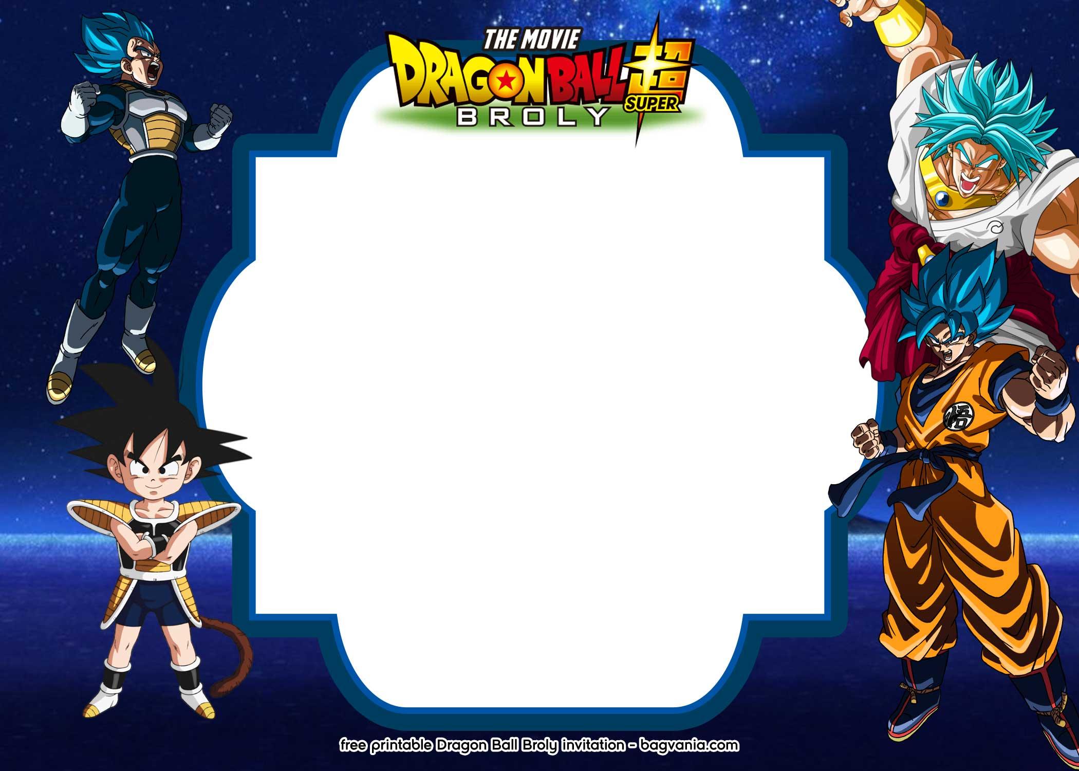 Free Printable Dragon Ball Super Broly Invitation Templates Free Printable Birthday Invitation Templates Bagvania
