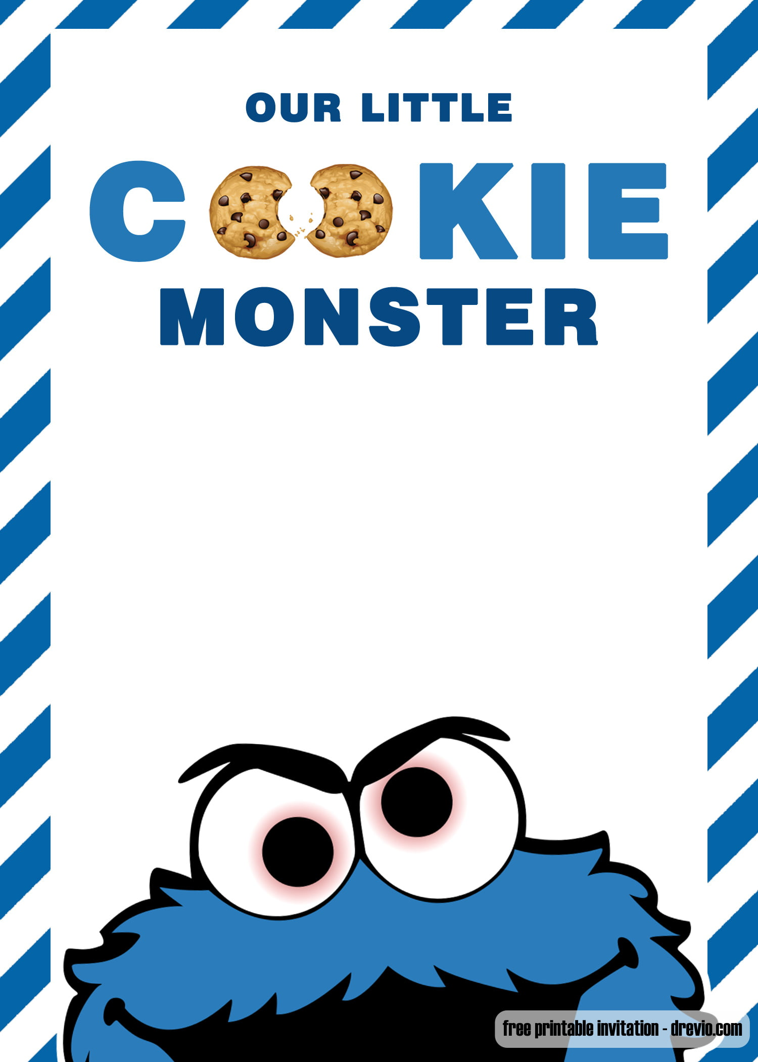 free cookie monster birthday invitation
