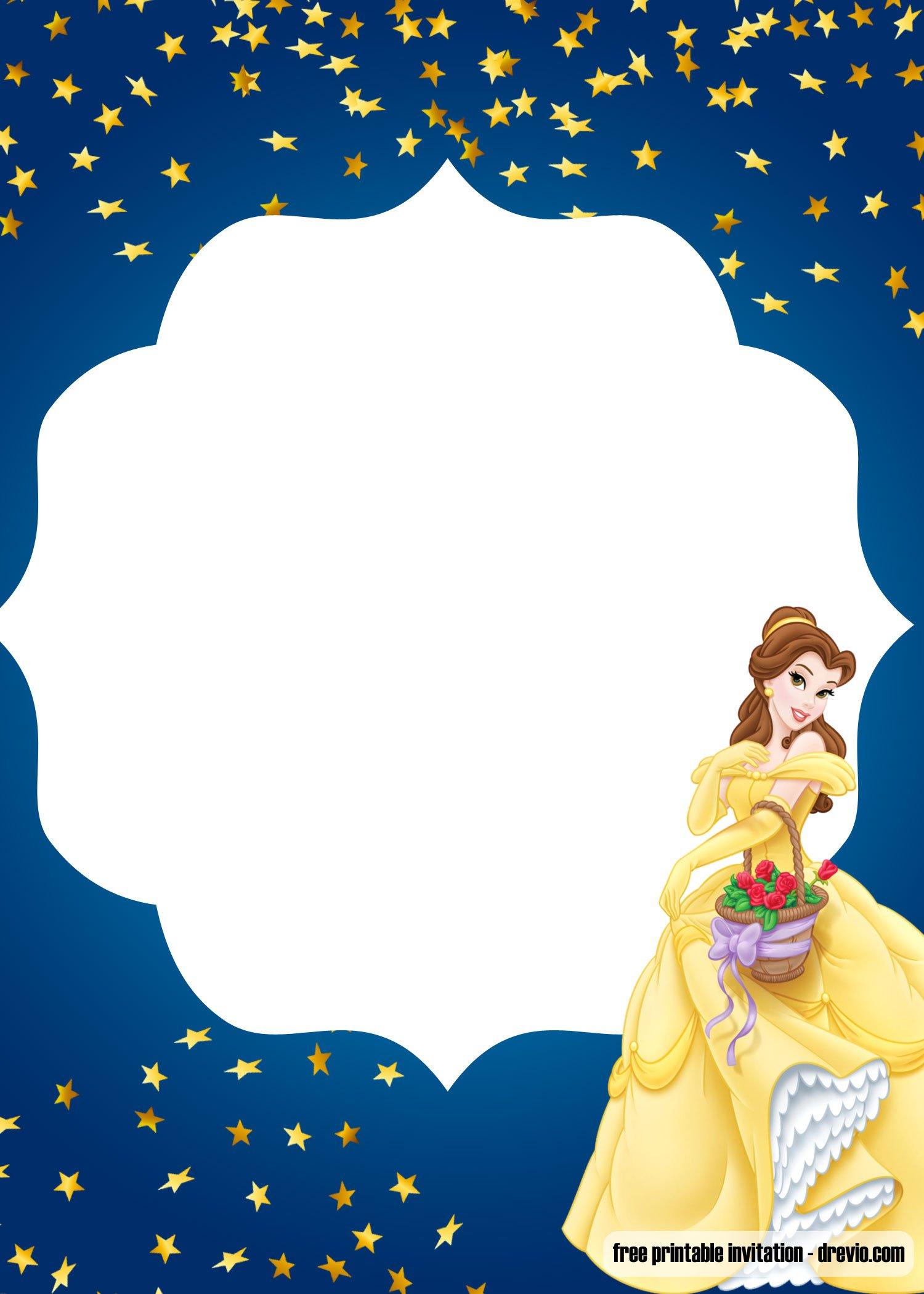 Free Princess Beauty And The Beast Invitation Templates
