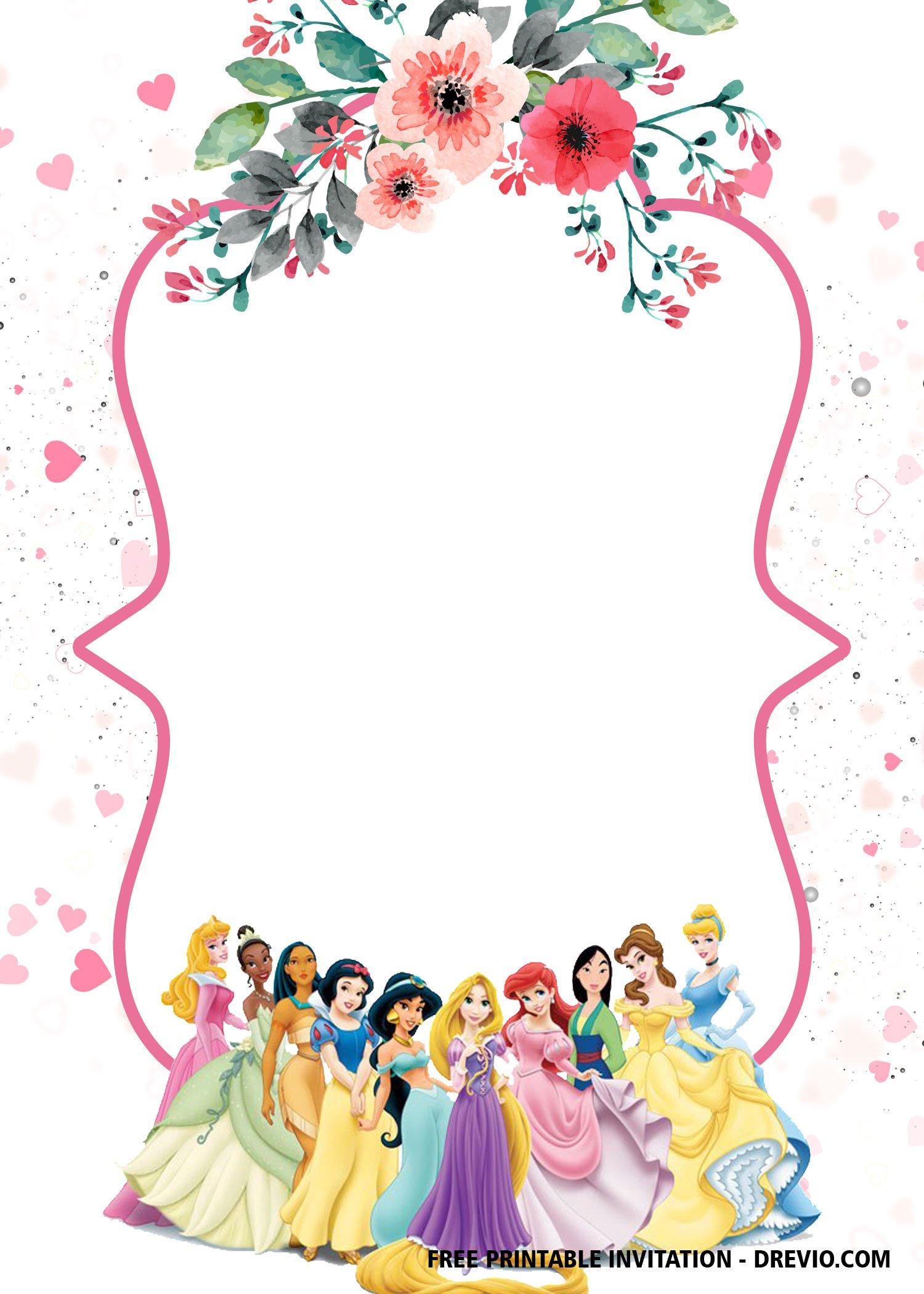 Free Printable Disney Princesses Invitation Templates Bagvania