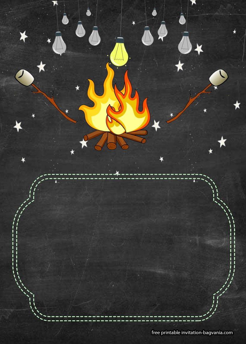 free bonfire camping invitation