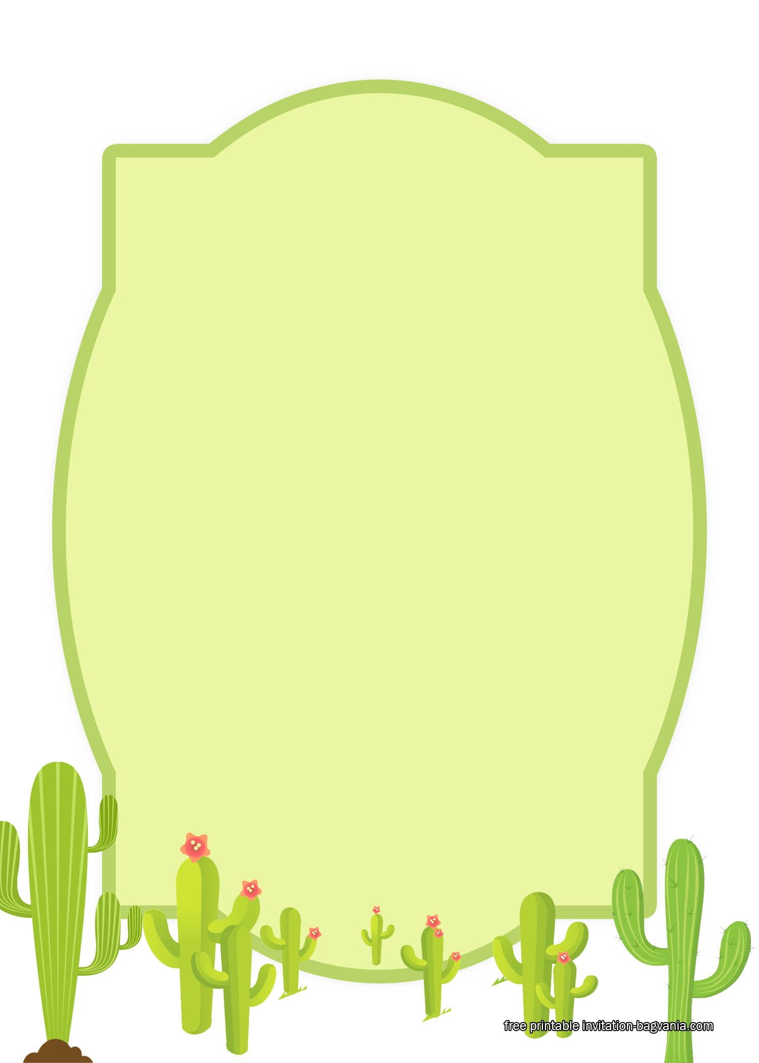 Free Printable Cactus Birthday Invitation Templates Bagvania