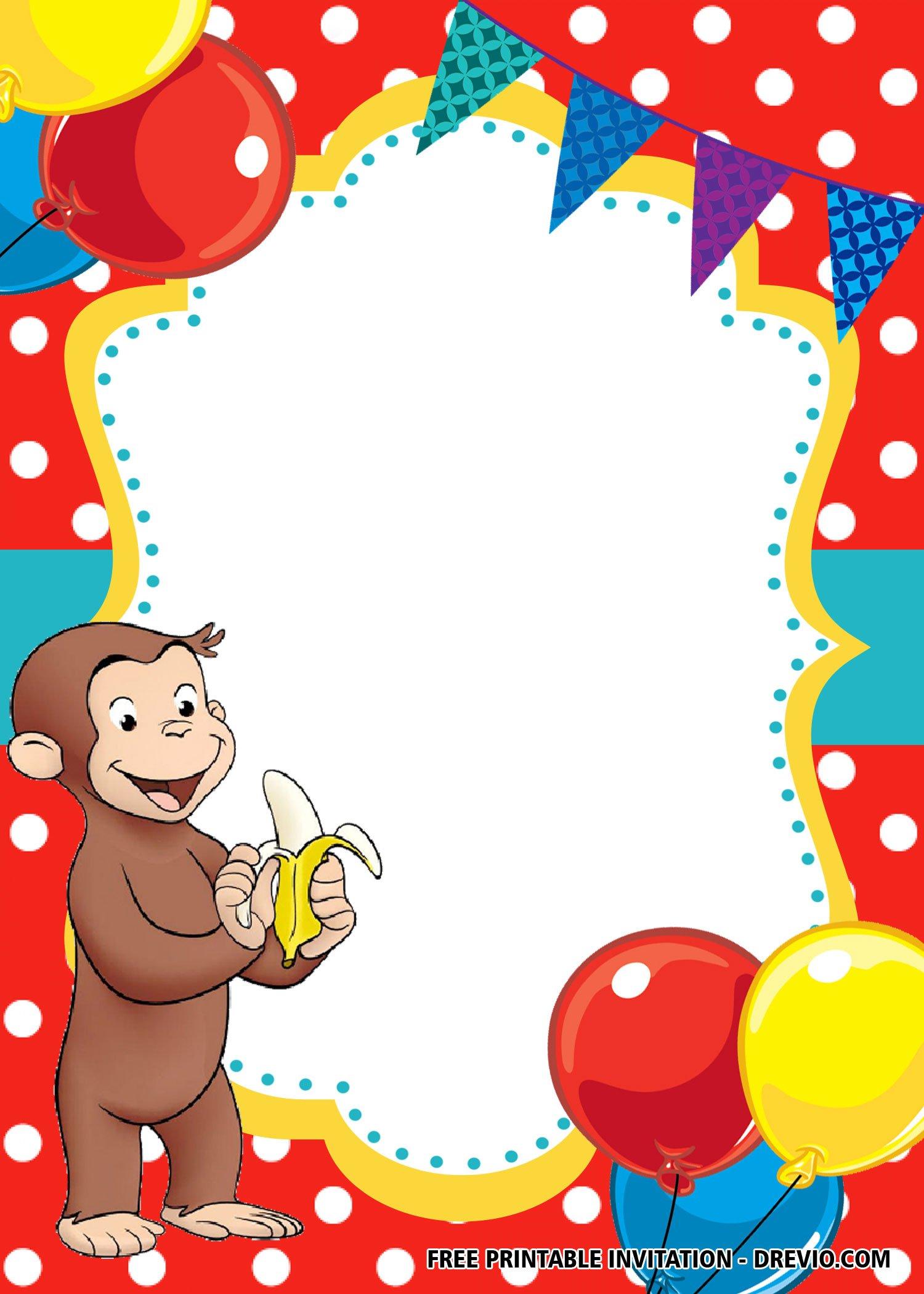 Free Blank Curious George Invitation Templates Free Printable Birthday Invitation Templates Bagvania