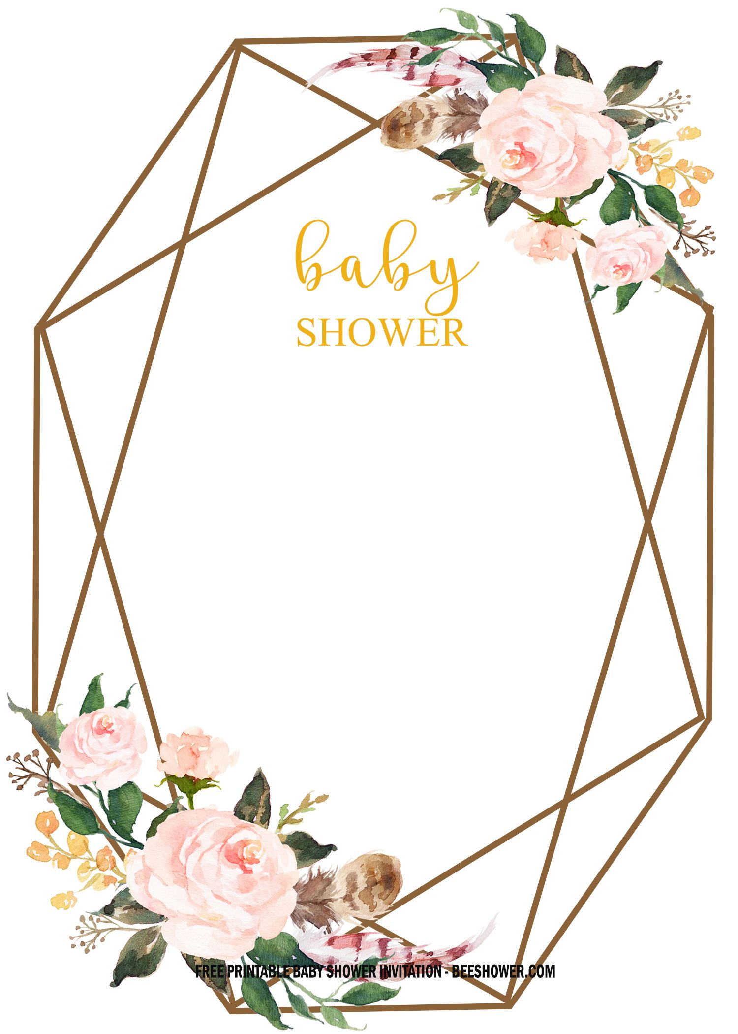 Free Floral Baby Shower Invitation Templates Vintage