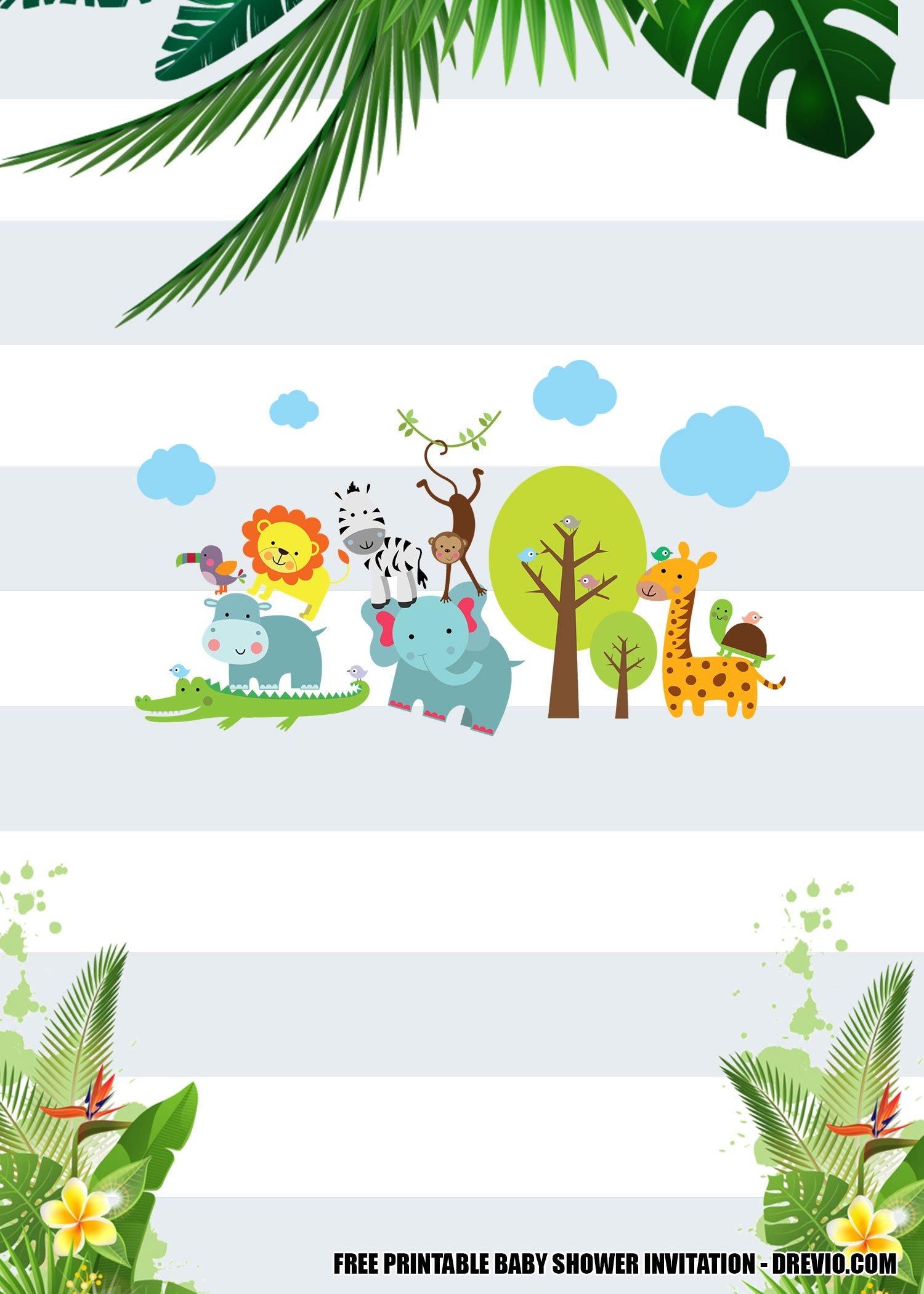 Free Jungle Baby Shower Invitation Templates Bagvania