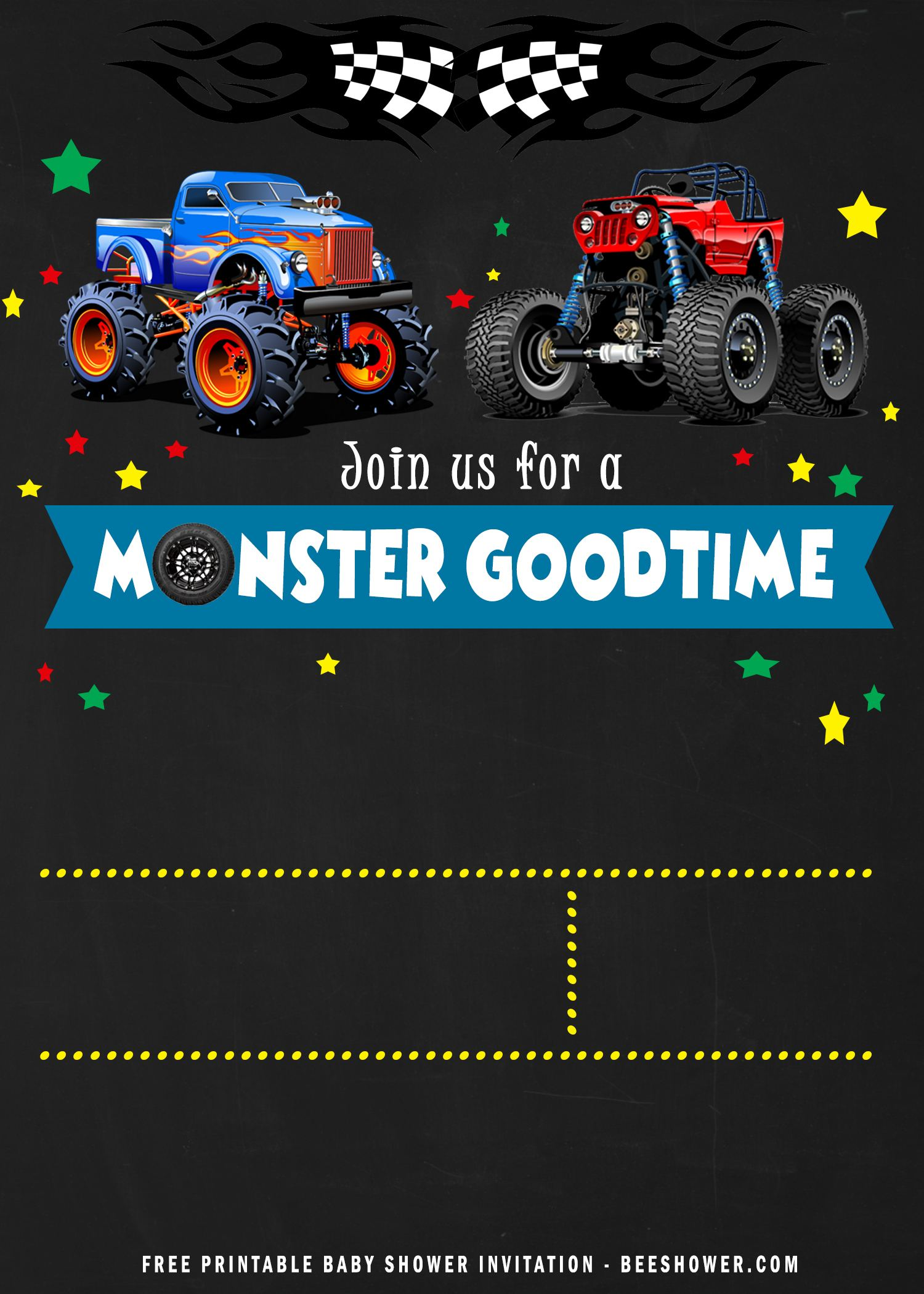 free printable monster trucks birthday
