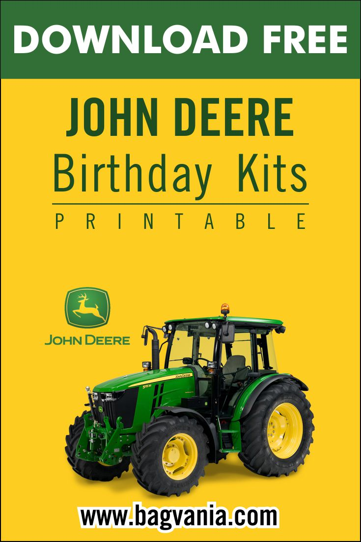 john deere birthday party kits template