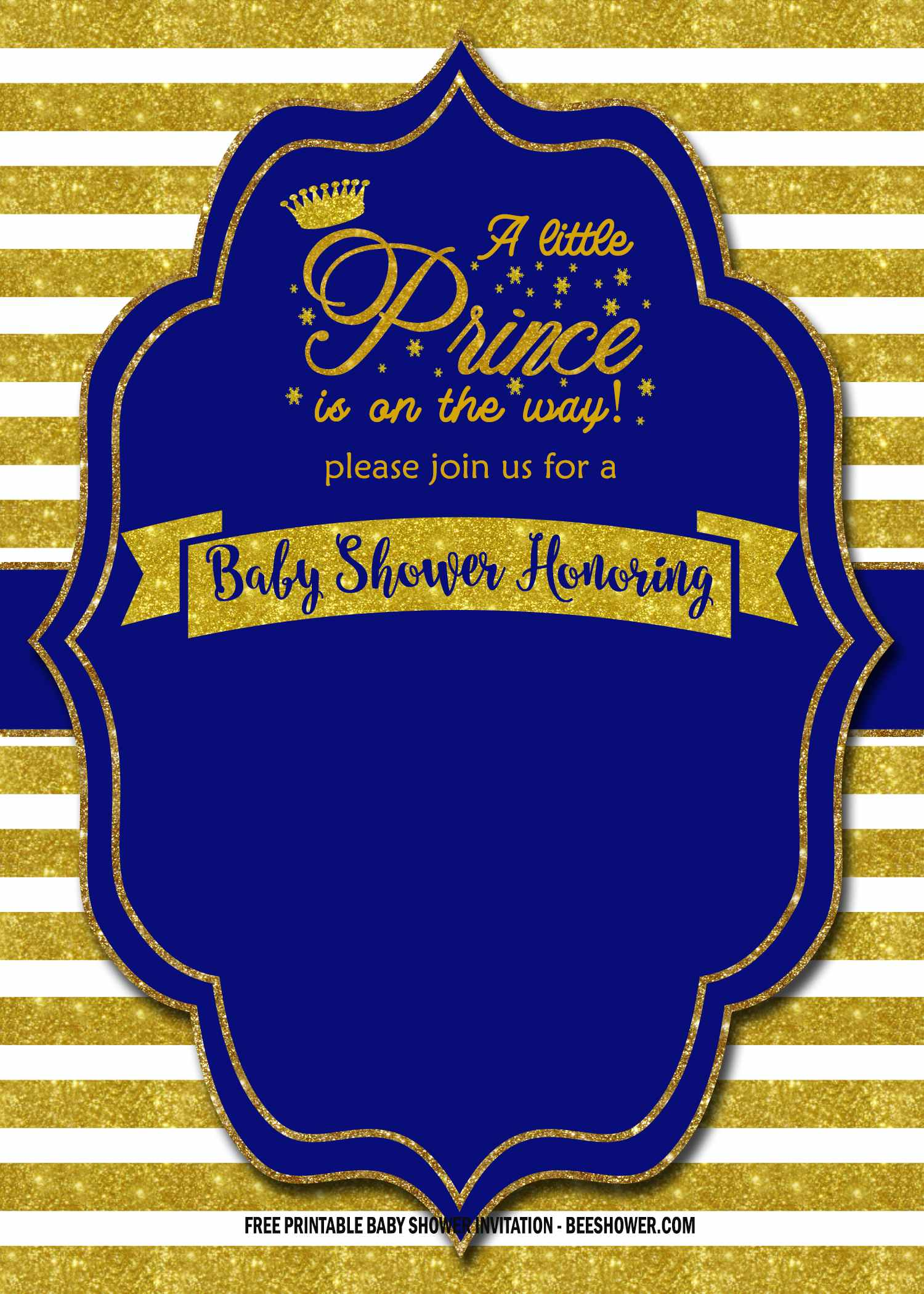 blue and gold royal party invitations