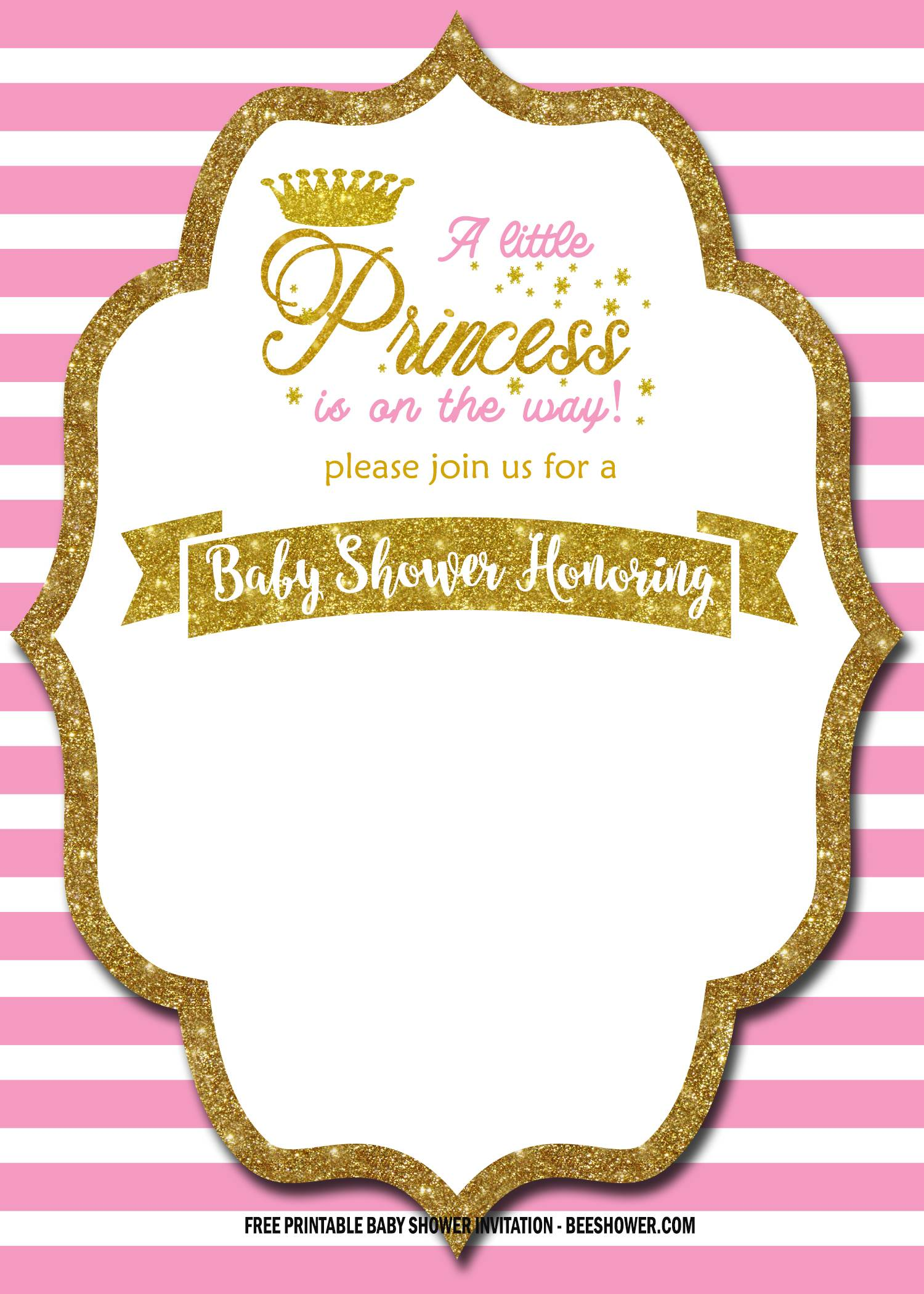free royal pink and gold invitation
