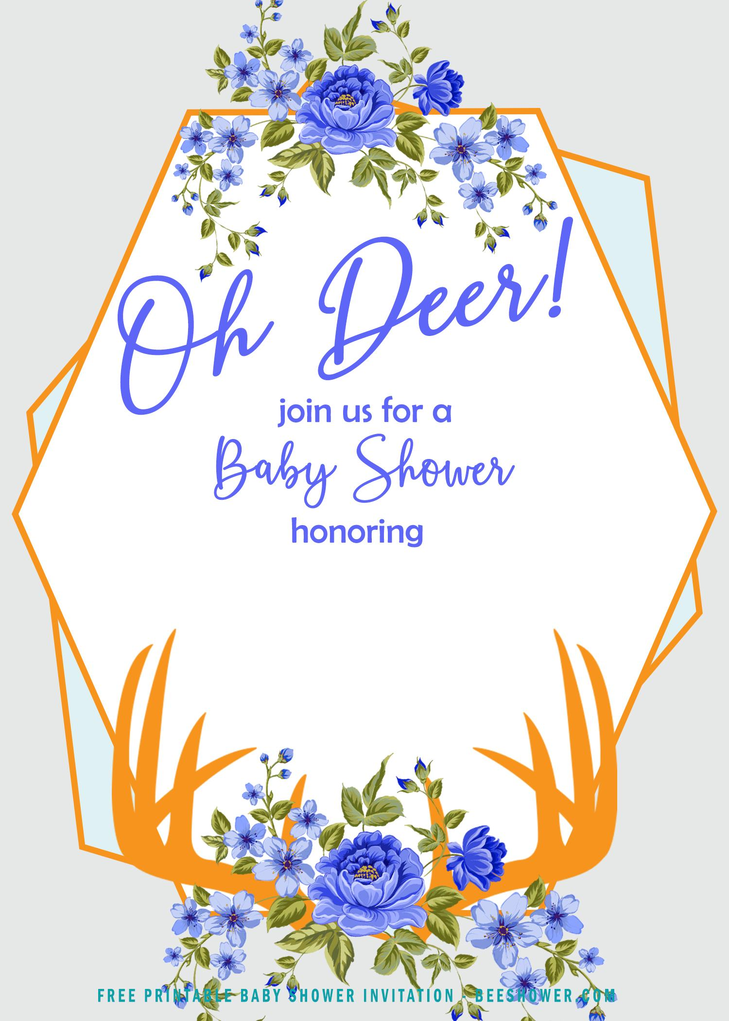 Free Golden Blue Deer Themed Invitation Templates Bagvania