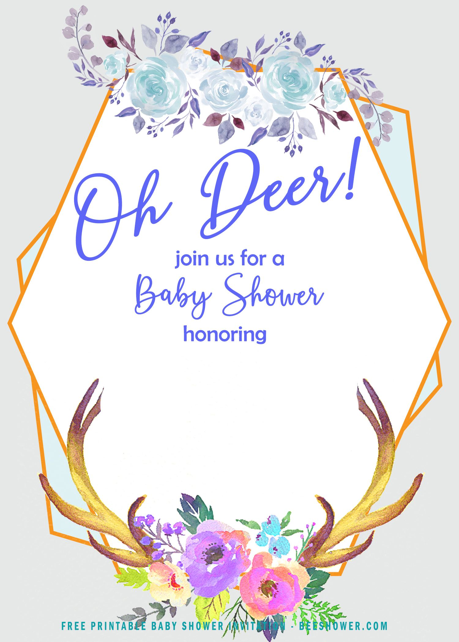 Free Golden Blue Deer Themed Invitation Templates Free
